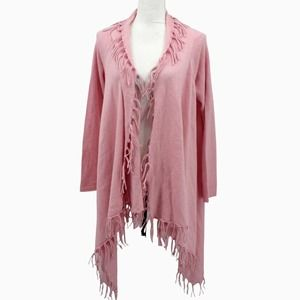 State Cashmere Light Pink Fringe Open Front Waterfall Cardigan Sweater Medium